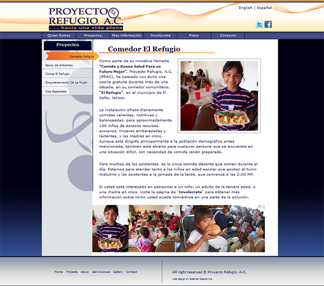 Small Business Web Design - Proyecto Refugio,A.C.